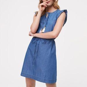 LOFT tassel chambray dress